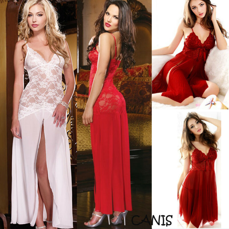 Women Sexy Lingerie Babydolls Sleepwear Underwear Lace Floral See-through Long Dress Female Deep V Nightgown Nightwear