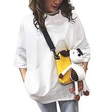 Women Crossbody Cartoon Art Girls Handbag Personality Canvas Bags Cute Plush Doll Portable Shoulder Messenger Bag Lady Purse