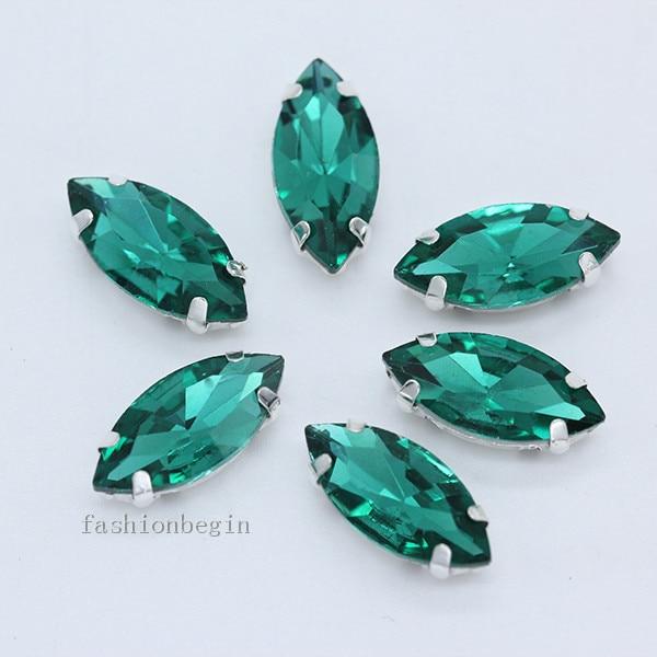 Всех размеров Наветт 24-цветное стекло камень с плоской задней частью, пришить с украшением в виде кристаллов Стразы драгоценные камни бисер с серебряной нитью, бледно-коготь кнопки для одежды аксессуары - Цвет: erinite