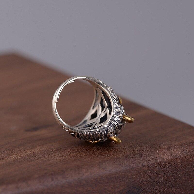 FNJ Agate rouge Dragon anneaux 925 argent taille réglable ouvert S925 solide bague en argent pour les femmes bijoux rond pierre Animal - 3