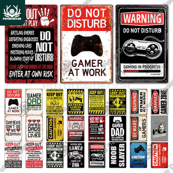 Funny Gamer Metal Sign Tin at Work Retro Signs Wall Decor for House Home Room - discount item  40% OFF Home Decor