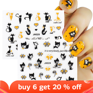 3D Gold Black Cartoon Cat Heart Sticker Butterfly High Heel Letter Silver Self Adhesive Animal Gel Polish Anime Decal SAJH025-36