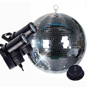 Image 1 - Thrisdar Dia25CM 30 センチメートルガラスディスコのミラーボールと 2 個 10 ワット RGB ビーム Pinspot ランプウェディングパーティー KTV ディスコステージライト
