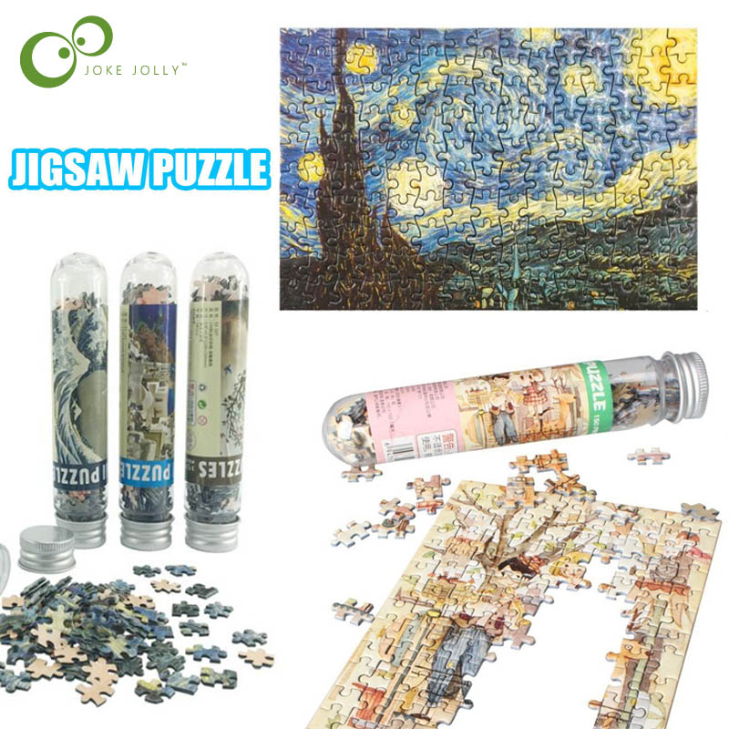 150 Pieces Tube Mini Paper Puzzles Game Toys for Children Adults Learning Education Brain Teaser Assemble Toy Games Jigsaw ZXH 1