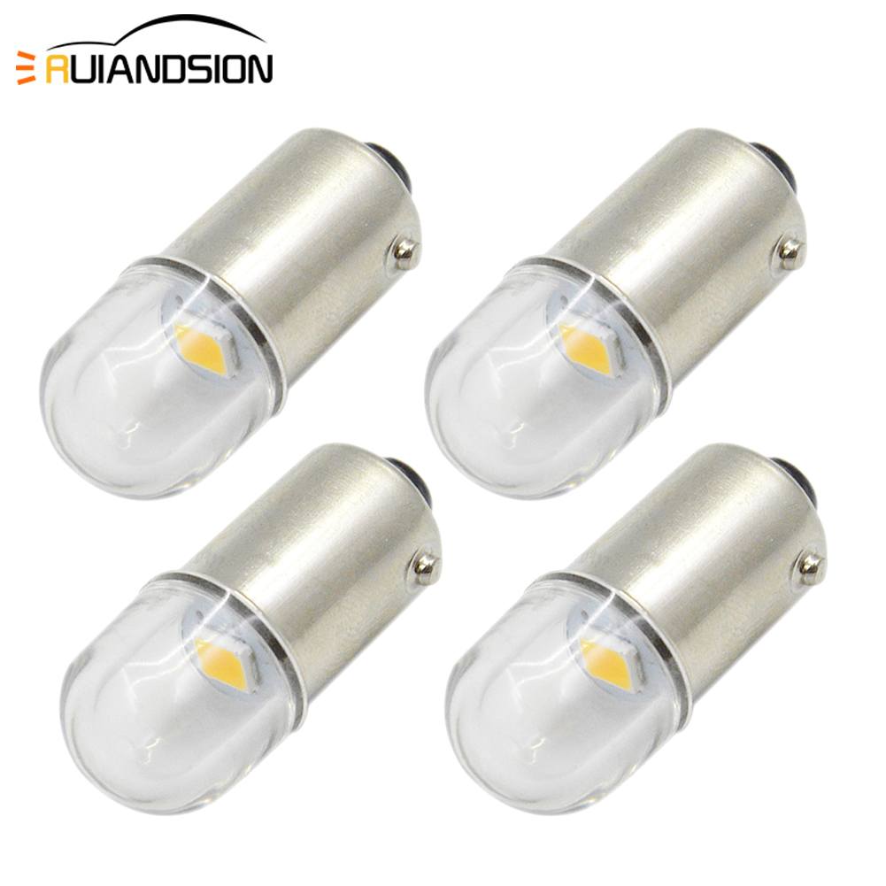 Voltage 6V 4 Warm White BA9S T4W 6253 1893 363 LED Bulbs for Car Interior Parking Reading Wedge Indicators Light Color 3000K