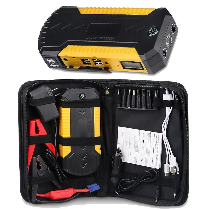Dispositif de démarrage d'urgence multifonction 12v Portable démarreur de saut de voiture chargeur portatif batterie Booster avec chargeur USB lumière LED 600A