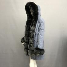 купить 2019 Real fur coat fox parkas winter jacket coat women parka big real raccoon fur collar natural fox fur liner long outerwear дешево