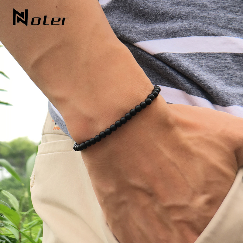 Noter Natural Matte Bracelet Stone Men 4mm 6mm 8mm 10mm 12mm Round Onyx Beaded Braslet Male Accessories Pulseira Husband Gift