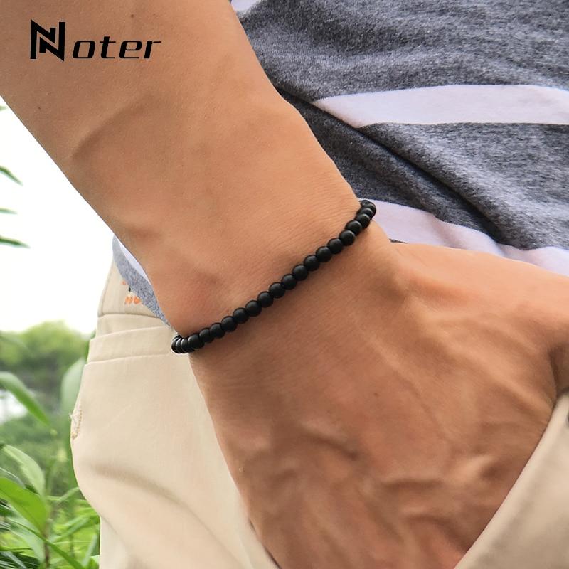 Noter Natural Matte Bracelet Stone Men 4mm 6mm 8mm 10mm 12mm Round Onyx Beaded Braslet Male Accessories Pulseira Husband Gift