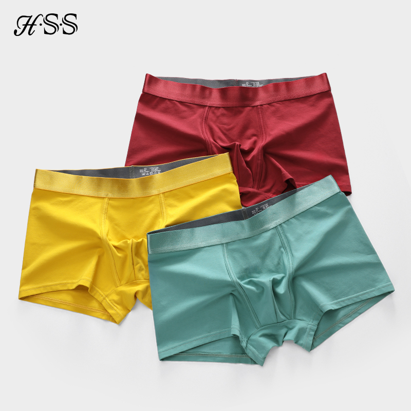3pcs/lot Men's Underwear Cotton Boxers Man Breathable Panties Solid Shorts HSS Brand Metallic Luster Underpants L XL XXL XXXL