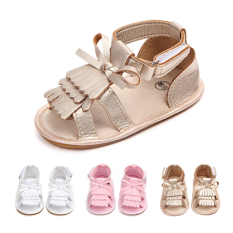 2020 Newborn Infant Baby Girls Sandals Prewalker Non-slip Hollow Princess Summer Tassel PU Leather Shoes 0-18M