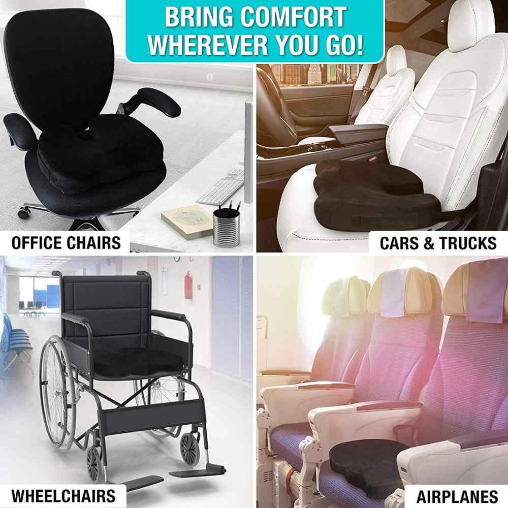 Coccyx z pianki Memory krzesło poduszka ortopedyczna biura na siedzenie Pad hemoroidy Treat fotelik samochodowy duża poduszka ulga ból Tailbone poduszka