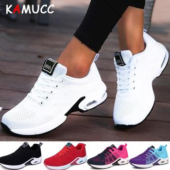 Moda kobiet Sneakers buty do biegania na świeżym powietrzu buty sportowe oddychające lekkie komfort do biegania buty sportowe poduszki powietrznej Lace Up tanie i dobre opinie KAMUCC Mesh (air mesh) Dla dorosłych Pasuje prawda na wymiar weź swój normalny rozmiar Szycia Cotton Fabric Wiosna jesień