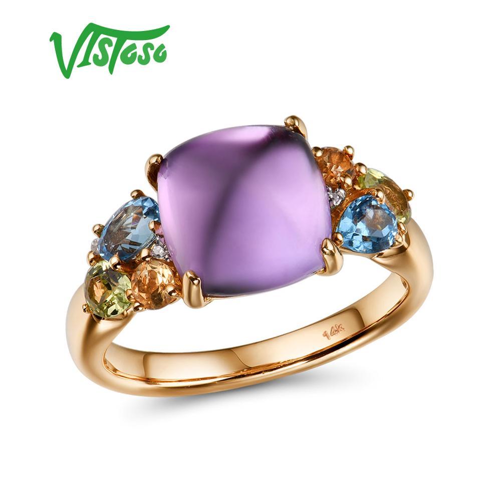 VISTOSO Genuine 14K 585 Rose Gold Sparkling Diamond Fancy Citrine Amethyst Peridot Blue Topaz Lady Ring Anniversary Fine Jewelry