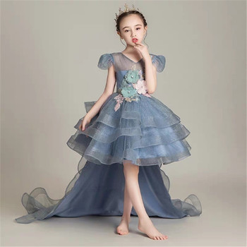 Infant Baby Fashion V-Collar Appliques Flowers Model Performance Host Piano Long Tail Dress Kids Birthday Evening Party Dresses