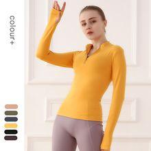 Salspor mulheres yoga camisas com zíper longsleeve com polegar trainning sportwear topos camisas esporte fitness qucik camisas secas femininas