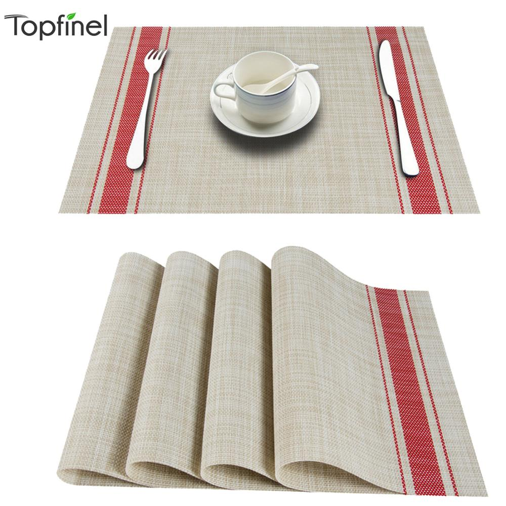 Topfinle PVC Bamboo Plastic Placemats For Dining Table Mat Set Linens Place Mat In Kitchen Tableware Pad Coffee Tea Place Mat