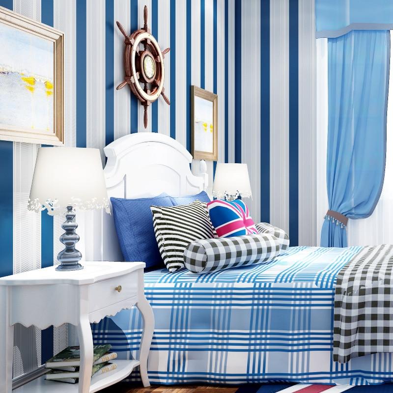 Mediterranean Style Self-Adhesive Wallpaper Nonwoven Fabric Bedroom Living Room CHILDREN'S Room Modern Minimalist Vertical Strip