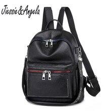 Jiessie&Angela Women Backpack Pu Leather Black Female Laptop Backpacks Casual School Girl Large Capacity Shoulder Bag