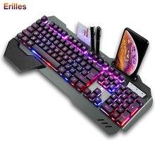 Профессиональный игры механическая клавиатура с RGB подсветкой эргономичная USB проводной игровой металла с держателем для телефона