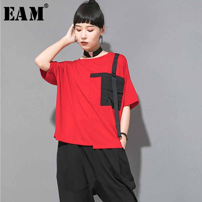 [EAM] Women Black Contrast Color Pocket Big Size T-shirt New Round Neck Half Sleeve Fashion Tide Spring Autumn 2020 JW996