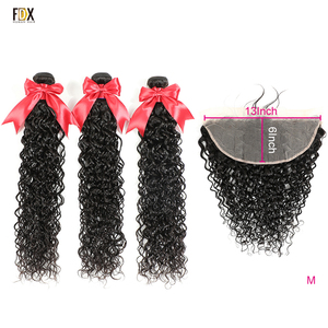 FDX 8-36 Inch Water Wave 3 Bundles with Closure 13x6 Water Wave Lace Closure 100% Brazilian Human Hair Remy Hair