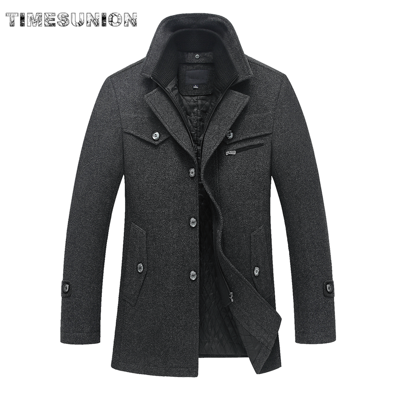 Winter Man Wool Coat Korean Fashion Brand Comfortable Warm Thick Wool Blends Woolen Pea Coat Male Trench Coat Overcoat