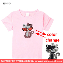Festival sequin top changing color cat switchable reversible sequins girls T-shirts kid fashion t shirt children tops clothes hot football soccer magic switchable sequins boys t shirts kid fashion t shirt children tops clothes