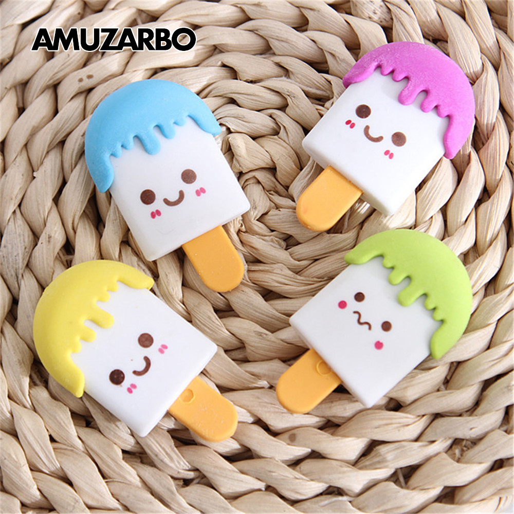1Pcs New Cartoon Face Ice Cream Kawaii Eraser Ice Cream Eraser Rubber For Kids School Supplies Color Random