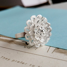 Big Flower 999 Sterling Silver Rings For Women Adjustable Ethnic Luxury Brand Jewelry Handmade bague femme moda mujer 2019