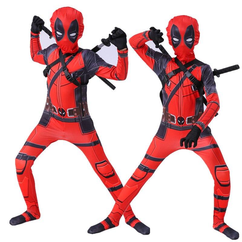 Movie Hero Deadpool Cosplay Tight Bodysuit Halloween Couple Parent-child Carnival Costume Wooden Double Knife