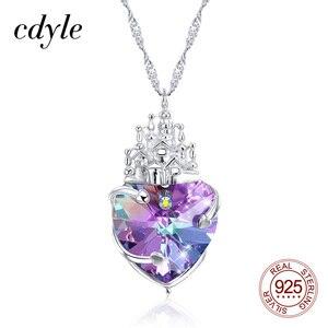 Cdyle ожерелье с фиолетовым кристаллом в виде сердца от Swarovski, серебро, S925 сказочный замок, вечерние ювелирные изделия для принцессы