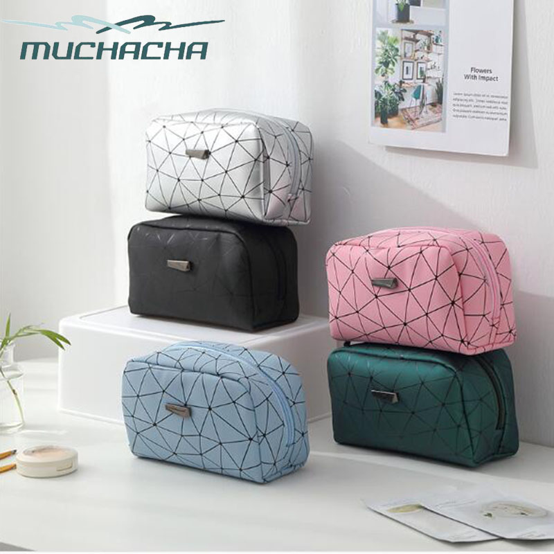 Dropshipping Waterproof PU Leather Make Up Bag Necessaries Organizer Geometry Rhombus Toiletry Kit Pouch Ladies Cosmetic Bag