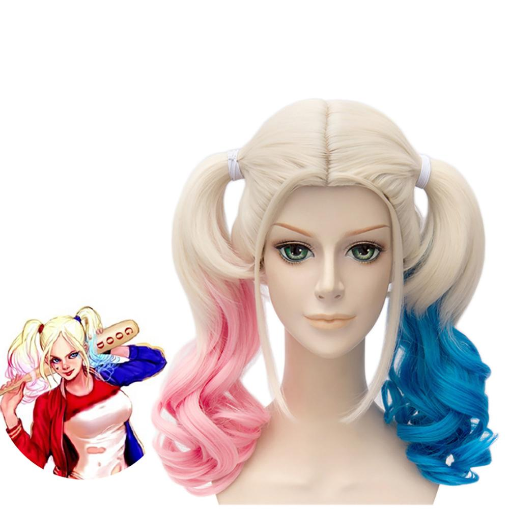 Anime Suicide Squad Batman Joker Harleen Quinzel Wig Harley Quinn Heat Resistant Synthetic Hair Cosplay Wigs + Wig Cap