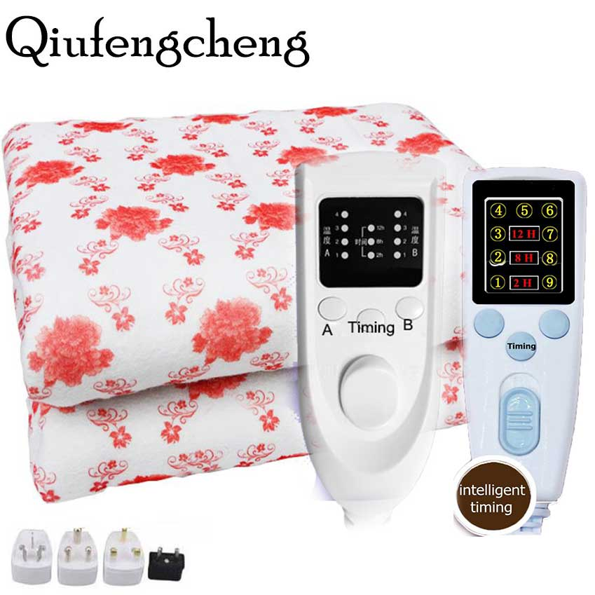 220V Blanket Plush Heated Blanket Temperature Timing Control Electric Blanket Electric Mat Body Warmer Heater For Winter