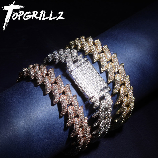 TOPGRILLZ 16mm Miami Lock Clasp Thorns Heavy Cuban Bracelet Link Iced Out AAA Cubic Zircon Bling Hip hop Men Jewelry Gift