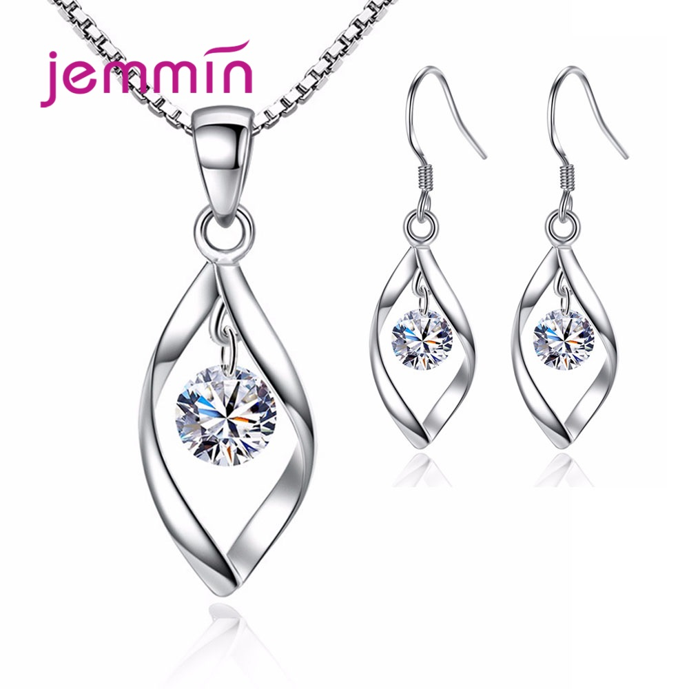Women Elegant Waterdrop Rhinestone Pendant Necklace Hook Earrings Jewelry Set 925 Sterling Silver Jewelry For Wedding Party
