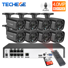 Techege H.265 8Ch 4MP POE NVR CCTV камера системы 4MP POE ip-камера 2560*1440 Открытый водонепроницаемый комплект видеонаблюдения