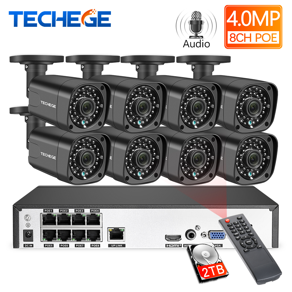 Techege H.265 8Ch 4MP POE NVR CCTV Camera System 4MP POE IP Camera 2560*1440 Outdoor Waterproof Video Security Surveillance Kit
