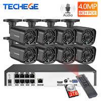 Techege H.265 8Ch 4MP POE NVR système de caméra de vidéosurveillance 4MP POE caméra IP 2560*1440 Kit de Surveillance de sécurité vidéo étanche extérieur