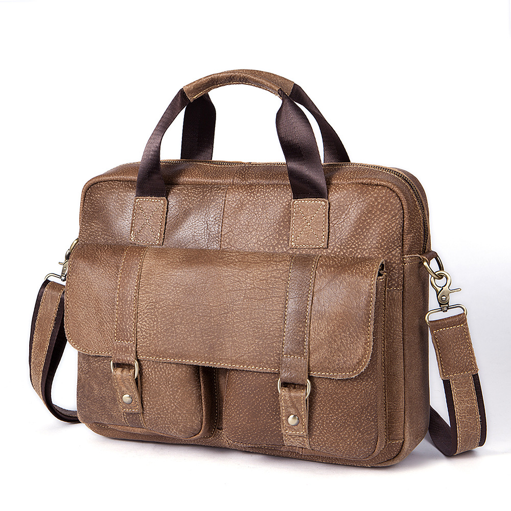 New Luxury Cow Genuine Leather Business Men's Briefcase Male Briefcase Shoulder Bag Men Messenger Bag Vintage Tote Computer Bag