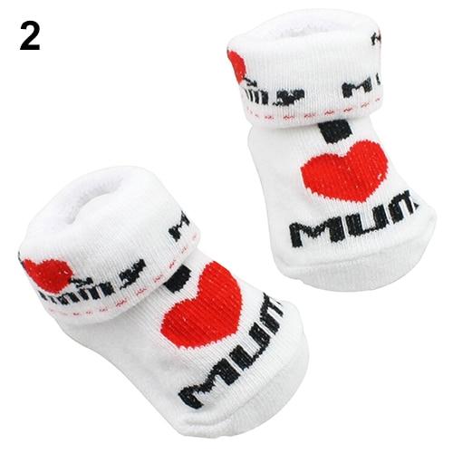 1Pair Newborn Baby Infant Boys Girl Cotton Slip-resistant Floor Socks Love Mom/Dad Pattern Suitable 0~6 Months Toddler 6