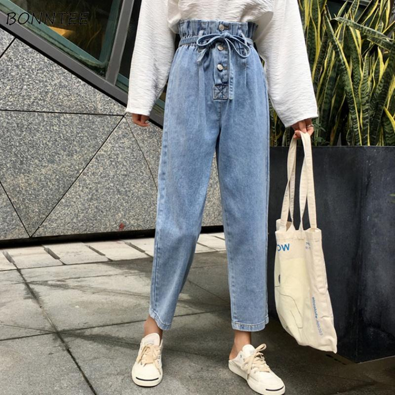 Jeans Women Harem Denim Simple High Pleated Waist Buttons Students Ankle-length All-match Loose 3XL Plus Size Harajuku Fashion