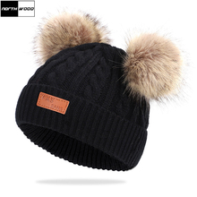[NORTHWOOD] New Fashion Baby Winter Hat Pompom Childrens For Kids Beanie Pom Ski Knitted Hats Warm Beanies