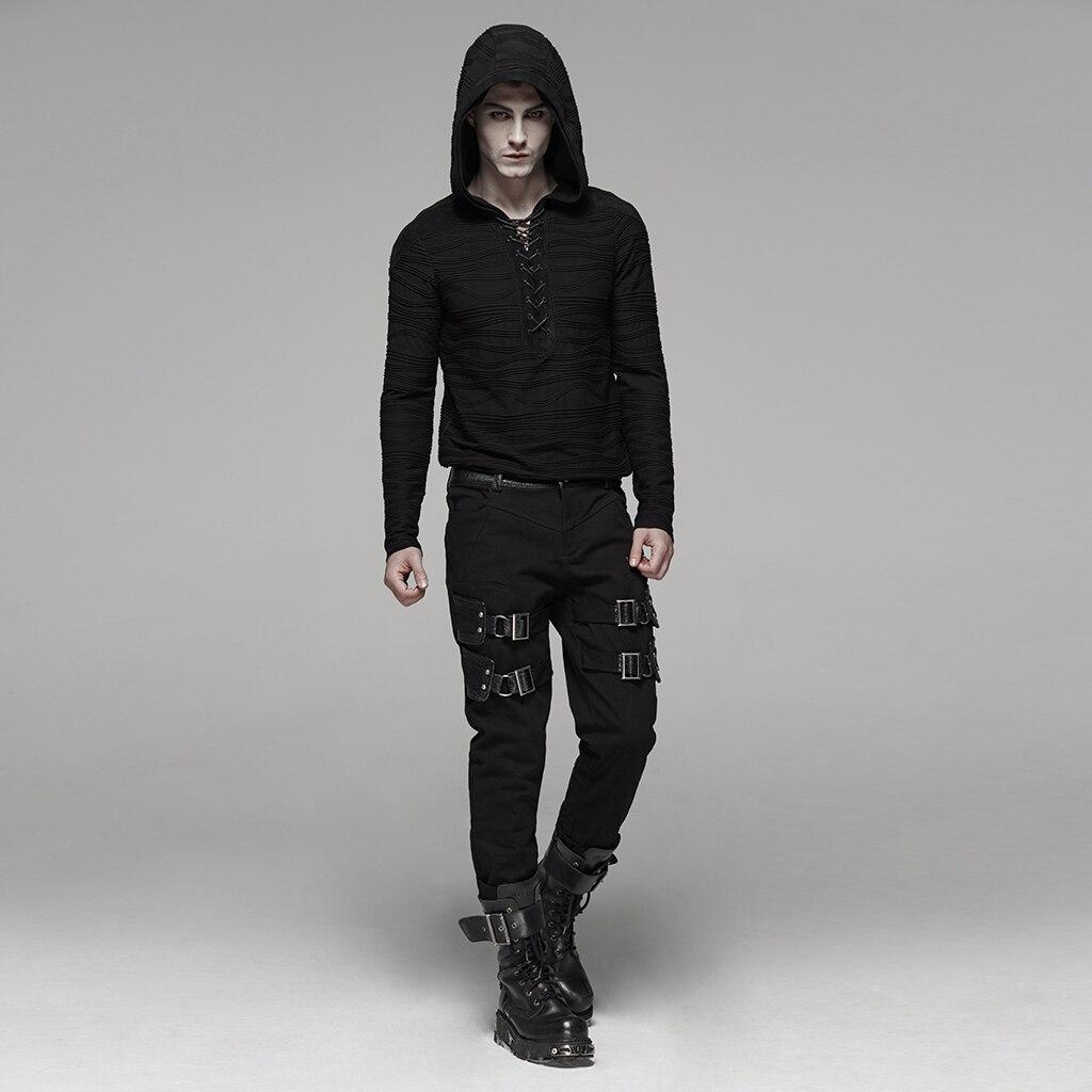 PUNK RAVE männer Dark Unregelmäßigen Streifen Gestrickte Samt T Unregelmäßigen Shirt Hoodies Rock Persönlichkeit Männer Tops Streetwear Männer Hemd - 4