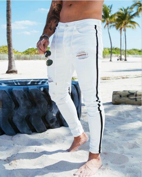 Новинка, обтягивающие джинсы для мужчин, уличная одежда, рваные джинсы, Homme, хип-хоп, Broken modis, мужские узкие байкерские штаны с вышивкой - Цвет: 1922