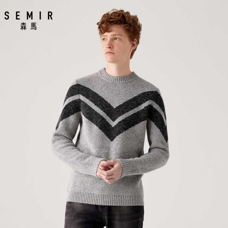 ชาย SEMIR 2019 ฤดูหนาวใหม่เสื้อกันหนาว Contrast สีเสื้อกันหนาวรอบคอ pullover แฟชั่นเสื้อ bottoming