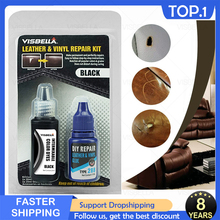 VISBELLA 2PCS Liquid Leather Repair Kit Restorer Black Brown Auto Car Seat Sofa Holes Scratch Cracks Rips Skin Leather Cleaner