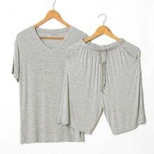 여름 모달 잠옷 세트 얇은 반팔 티셔츠 반바지 잠옷 망 캐주얼 세트 2 조각 v 목 솔리드 컬러 홈 의류