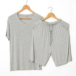Image 1 - Conjuntos de pijama de Modal de verano para hombre, camiseta de manga corta, pantalones cortos, conjunto informal de 2 piezas con cuello en V, ropa de casa de Color sólido